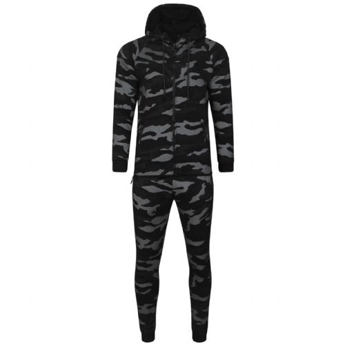 Mens Italian DG Designer fitted Hooded Tracksuit Black Camouflage Print Fabric detail